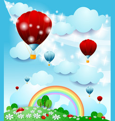 fantasy landscape with hot air balloon vector image