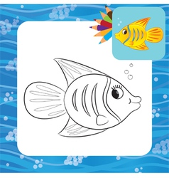 fish coloring page vector image vector image