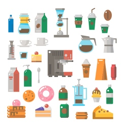 Flat design of coffee shop items set vector image
