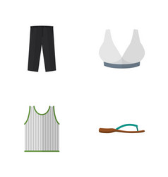Flat garment set of pants brasserie singlet and vector