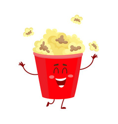 funny cinema popcorn bucket character with smiling vector image vector image
