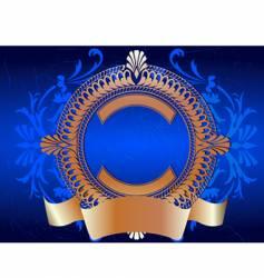 golden ornate banner on blue vector image vector image