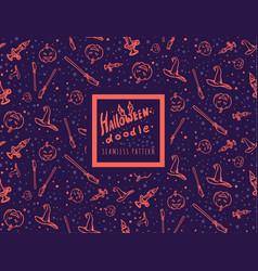 halloween doodle seamless pattern vector image vector image