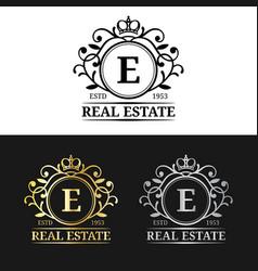 real estate monogram logo templates luxury vector image vector image