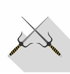 Sai weapon icon flat style vector image vector image