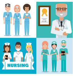 Set specialist medical doctors with hat and mask vector