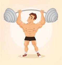 Smiling happy bodybuilder man character vector
