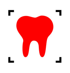 Tooth sign red icon inside vector