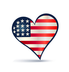 usa flag love heart logo vector image vector image