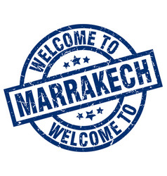 Welcome to marrakech blue stamp vector