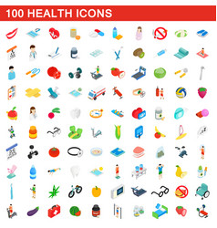 100 health icons set isometric 3d style vector image