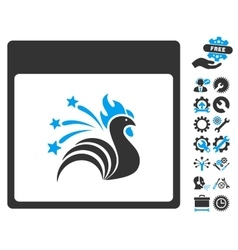 Sparkle rooster calendar page icon with vector