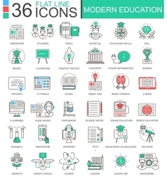 Modern education color flat line outline vector
