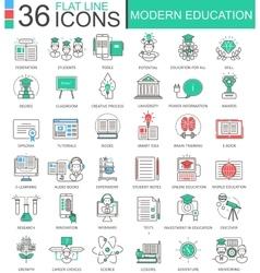Modern education color flat line outline vector image