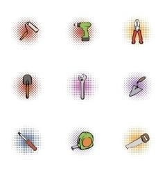 Repair icons set pop-art style vector