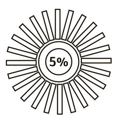 Five percents infographics outline style vector