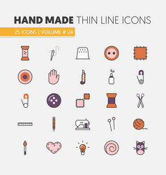 Hand made sewing linear thin line icons set vector