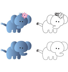 Drawing of a cartoon cute toy baby elephant vector