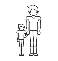 dad and son style outline vector image