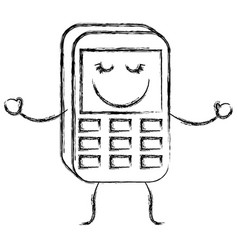 Happy phone icon vector
