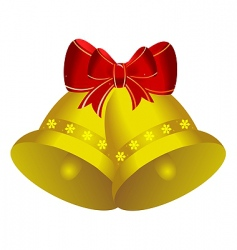 Christmas bells with bow vector image