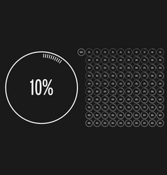 Set of circle percentage diagrams from 0 to 100 vector