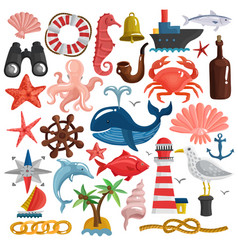 nautical elements and sea life set vector image