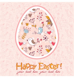 Easter egg cute floral card vector