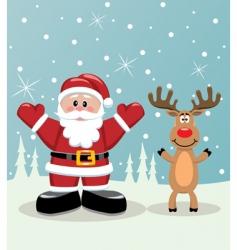 Santa and Rudolph deer vector image