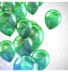 Holiday background with flying green balloons and vector
