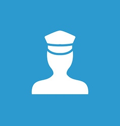 Policeman icon white on the blue background vector