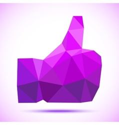 Violet -purple geometric polygonal thumb up icon vector