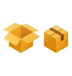 Icons of empty and closed post cargo cardboard vector