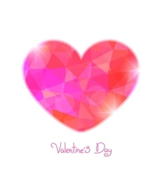 Valentines day polygonal heart on a white vector