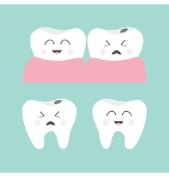Tooth gum icon set healthy smiling tooth crying vector