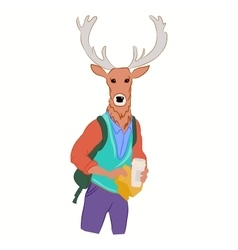 Hipster deer in cool fashion clothes vector
