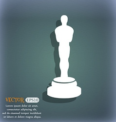 Oscar statuette icon on the blue-green abstract vector