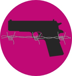Gun control gun with barbed wire vector