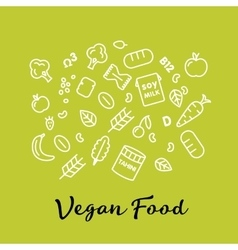 Set of the vegan food icons vegetables and fruits vector