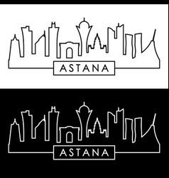 Astana skyline linear style editable file vector
