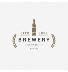Beer bottle logo or badge design element vector