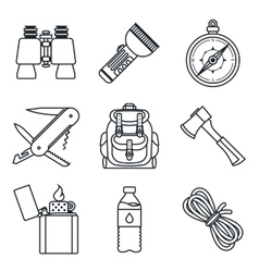 Black lineart icon set Camping equipment vector image