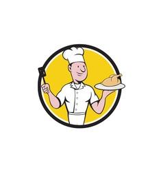 Chef cook roast chicken spatula circle cartoon vector