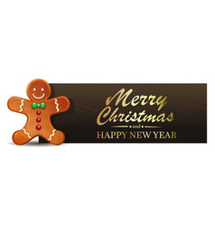 Christmas banner with gingerbread man vector