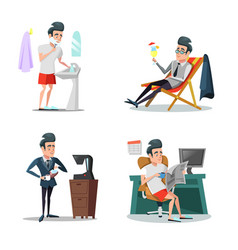 Coffee break at work businessman relaxing vector