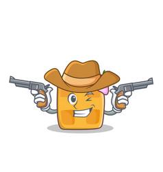 Cowboy waffle character cartoon design vector