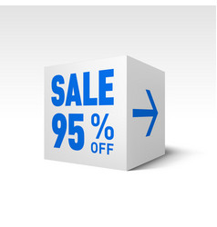Cube banner template ninety-five percent off vector
