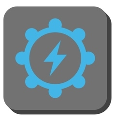 Electric energy cogwheel rounded square button vector