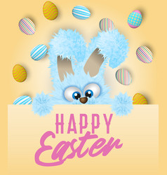 Happy easter greeting card with painted or vector