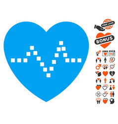 Heart pulse icon with dating bonus vector